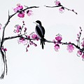 Thumb Bird In Plum Blossom by Sibby S