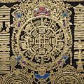 Tibetan Thangka - Tibetan Astrological Diagram by Serge Averbukh
