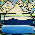 Tiffany And Blossoms Stained Glass by Elizabeth Robinette Tyndall