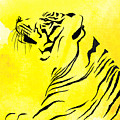 Tiger Animal Decorative Black And Yellow Poster 3 - By  Diana Van by Diana Van