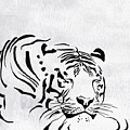 Tiger Animal Decorative Black And White Poster 1 - By  Diana Van by Diana Van