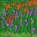 Tiger Lilies And Purple Hostas by Dotti Hannum