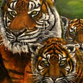 Tigers Family Oil Painting by Natalja Picugina