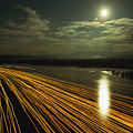 Time Lapse Of Lights From Boats Moving by Steve Winter