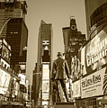 Times Square Ny Overlooking The Square Sepia by Toby McGuire