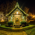 Tiny Chapel With Lighting At Night by Alex Grichenko