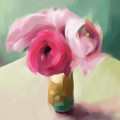 Tiny Pink Ranunculus Floral Art by Beverly Brown