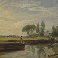 Title Barge Below Flatford Lock by John Constable