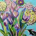 Pink Floral On Blue by Catherine Gruetzke-Blais