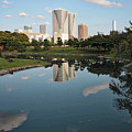 Tokyo Buildings And Garden Pond by Carol Groenen