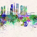 Tokyo V3 Skyline In Watercolor Background by Pablo Romero