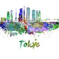 Tokyo V3 Skyline In Watercolor by Pablo Romero