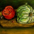 Tomato And Cabbage Oil Painting Canvas by Natalja Picugina