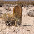 Tombstone At Bullfrog Rhyolite Cemetery by Kristia Adams