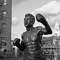 Tony Demarco Boxer Statue North End Boston Ma Sunset Black And White by Toby McGuire