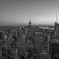 Top Of The Rock At Sunset Bw by Michael Ver Sprill