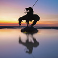 Top Of The Rock Native American Statue Silhouette Reflections by Gregory Ballos