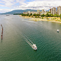 Top View Of English Bay In Summer, Vancouver Bc. by Viktor Birkus