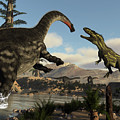 Torvosaurus And Apatosaurus Dinosaurs Fighting - 3d Render by Elenarts - Elena Duvernay Digital Art