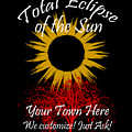 Total Eclipse Art For T Shirts Sun And Tree On Black by Debra and Dave Vanderlaan