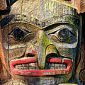 Totem Pole Detail - Eagle by Peggy Collins