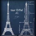 Tour Eiffel Engineering Blueprint by Daniel Hagerman