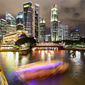 Tourboat Rush On Singapore River At Night In Business District.  by Didier Marti