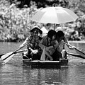 Tourist Boating Thru Tam Coc Bw by Chuck Kuhn