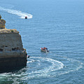Tourist Boats And Cliffs In Algarve by Angelo DeVal