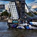 Tower Bridge And Boat by Anthony Dezenzio