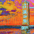 Tower Bridge Colorful Painting, Under Vibrant Sunset by Patricia Awapara
