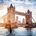 Tower Bridge In London, The Uk At Sunset. Drawbridge Opening by Michal Bednarek