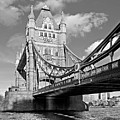 Tower Bridge Vertical Black And White by Gill Billington