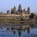 Towers Of Angkor Wat And Lake by Axiom Photographic