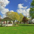 Town Common In Spring Brookfield Massachusetts by John Burk