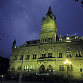 Town Hall At Night In Manchester by Richard Nowitz