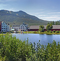 Town Square By The Pond At Waterville Valley by Nancy Griswold