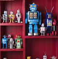 Toy Robots On Shelf  by Garry Gay