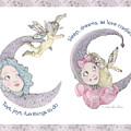 Toys, Joys, Baby And Moon, Lavender Border by Nancy Lee Moran