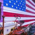 Tractor And Large Flag by Garry Gay