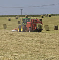 Tractor Bailing Hay In A Field At Harvest Time Pt by Andy Smy