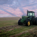 Tractor In A Field - Early Morning by Don Valentine