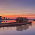Traditional Windmills At Sunrise, Kinderdijk, The Netherlands by Sara Winter