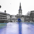 Trafalgar Square Fountain London 3d by Alex Art and Photo