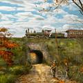 Train - Arlington Nj - Enjoying The Autumn Day - 1890 by Mike Savad
