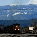 Train Entering Truckee California by Thomas Marchessault