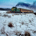 Train In Winter Landscape - Pol109497 by Dean Wittle