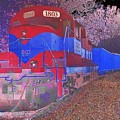 Train On Railroad Tracks - Abstract In Blue And Red by Scott D Van Osdol