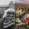 Train Station - Wuppertal Suspension Railway 1913 - Side By Side by Mike Savad