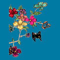 Transparent Flowers And Butterflies In Color by Shylee Charlton
